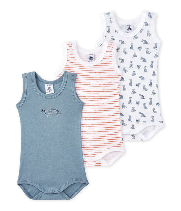 Petit Bateau Tops + Bodysuits 3m Pack of 3 Baby Sleeveless Bodysuits