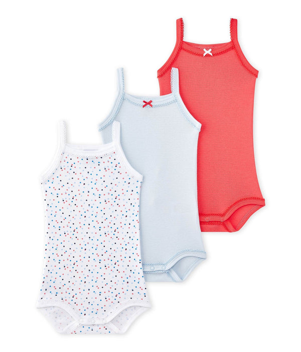 Petit Bateau Tops + Bodysuits 3m Set of 3 Baby Bodysuits with Straps