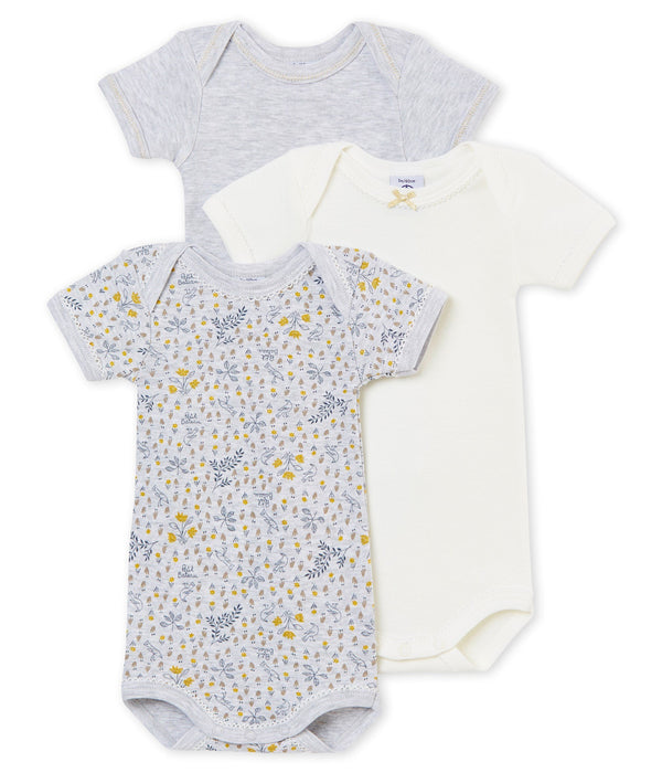 Petit Bateau Tops + Bodysuits 3m Sparkly Print Short Sleeved Body Trio