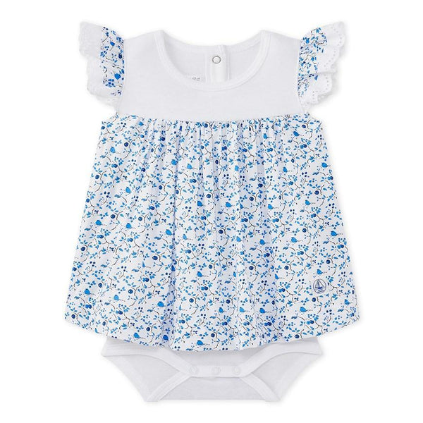 Petit Bateau Tops + Bodysuits 6m Baby Girl Print Poplin Dress Bodysuit