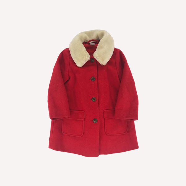 Petit Bateau Winter Coat 4y / Preloved Re-Cycle Solid Red Winter Coat