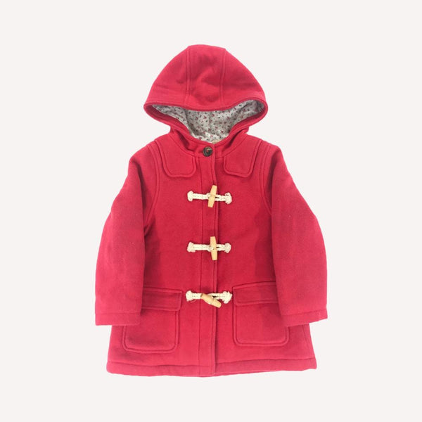Petit Bateau Winter Coat 4y / Preloved Re-Cycle Solid Red Wool Coat