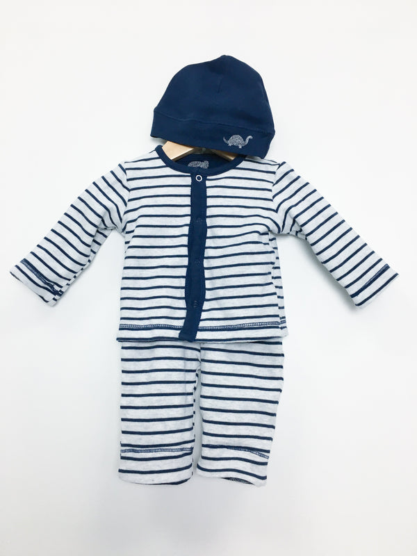 Petit Lem Sets 3m / Like New Re-Cycle Oh Dino Reversible Cardigan Set with Hat- Organic Cotton