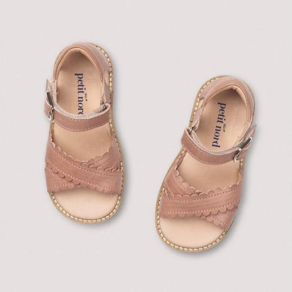 Petit Nord Sandals Crossover Scallop Sandal - Old Rose