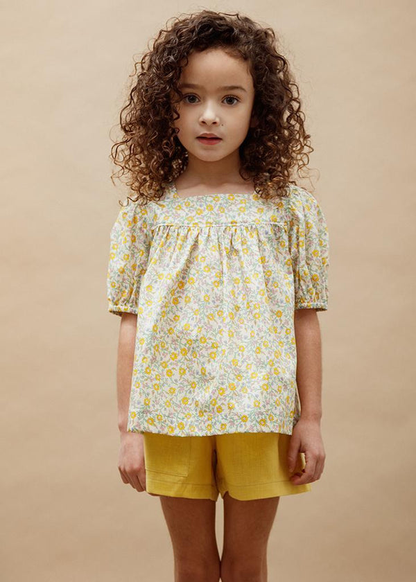 Petits Vilains Blouse Anais Square Neck Blouse - Hannah Fay Yellow