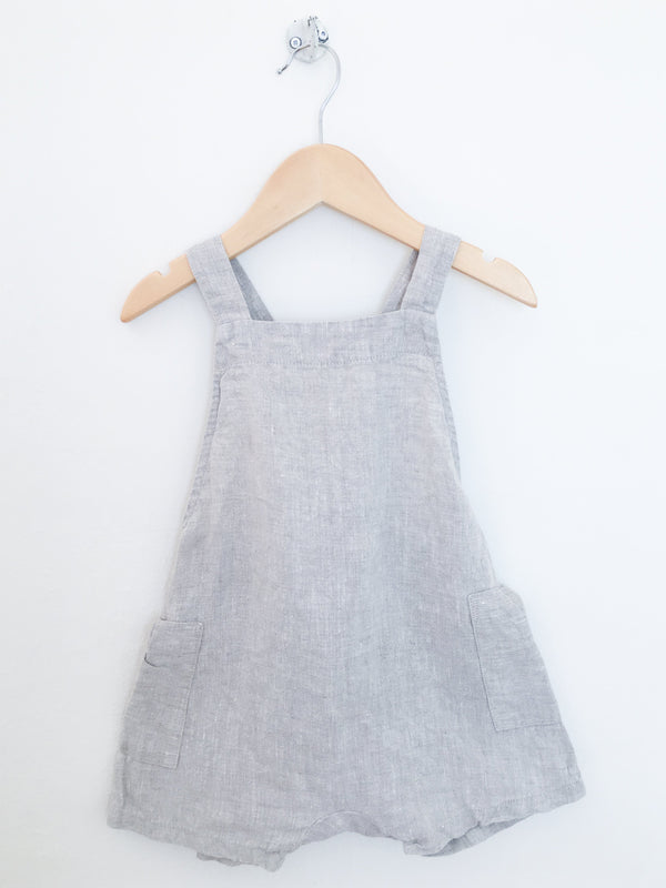 Petits Vilains Rompers + Overalls Re-Cycle Gabriel Short Overalls - Oatmeal