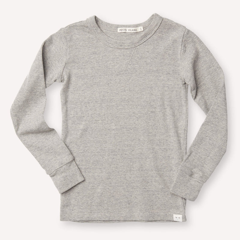 Petits Vilains Sweaters Dominique Long-Sleeve Crew - Heather Grey