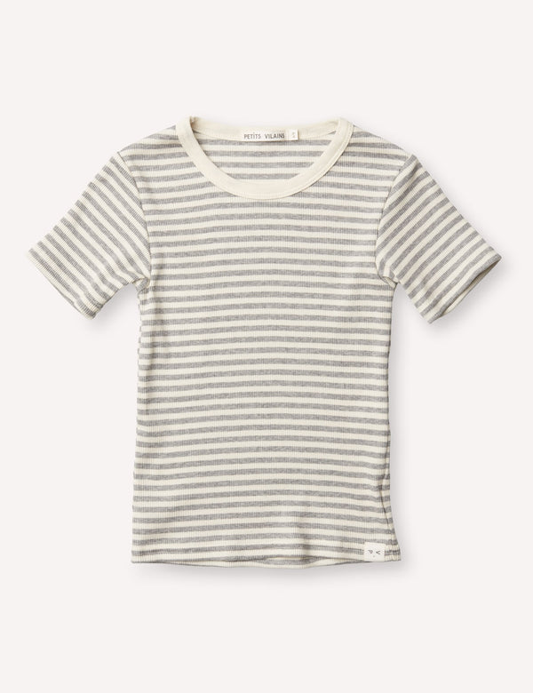 Petits Vilains Tops + Bodysuits 12/18 Pascal Slim Tee - Grey/Cream Stripe