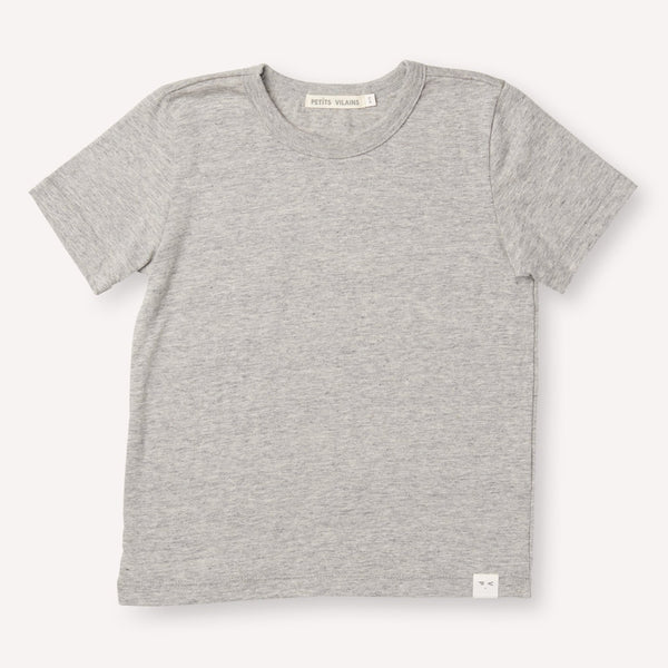 Petits Vilains Tops + Bodysuits 12/18 Sasha Classic Tee - Heather Grey