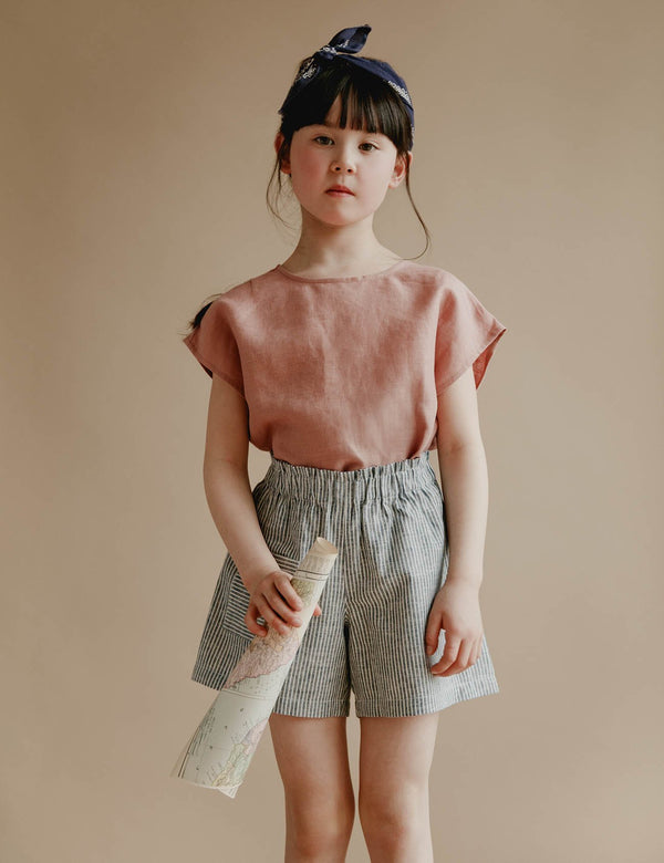 Petits Vilains Tops + Bodysuits 18/24 Lou Shell Top - Tea Rose