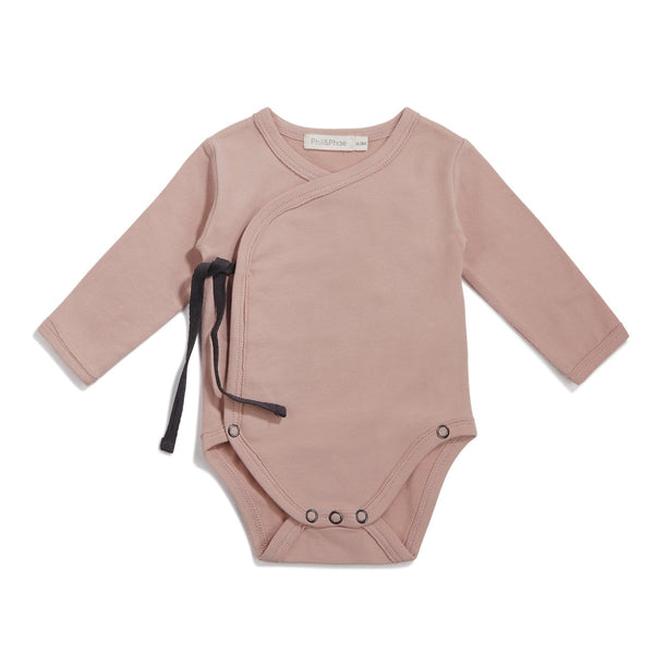 Phil & Phae Bodysuit Cross-over body l/s - Vintage blush