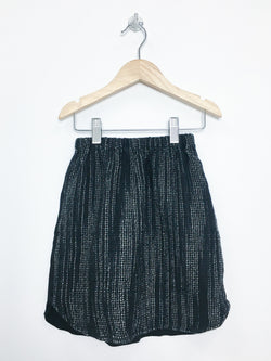 Plaid and Paisley Skirt 5-6y / Gently Used Re-Cycle Black Tweed Front Jersey Back Skirt