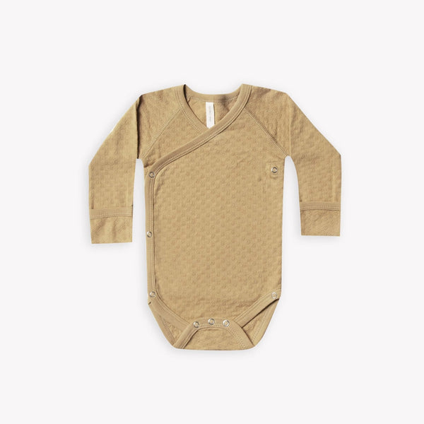 Quincy Mae Bodysuit Kimono Pointelle Bodysuit - Honey