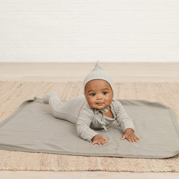 Quincy Mae Bonnet Pixie Bonnet - Eucalyptus Stripe