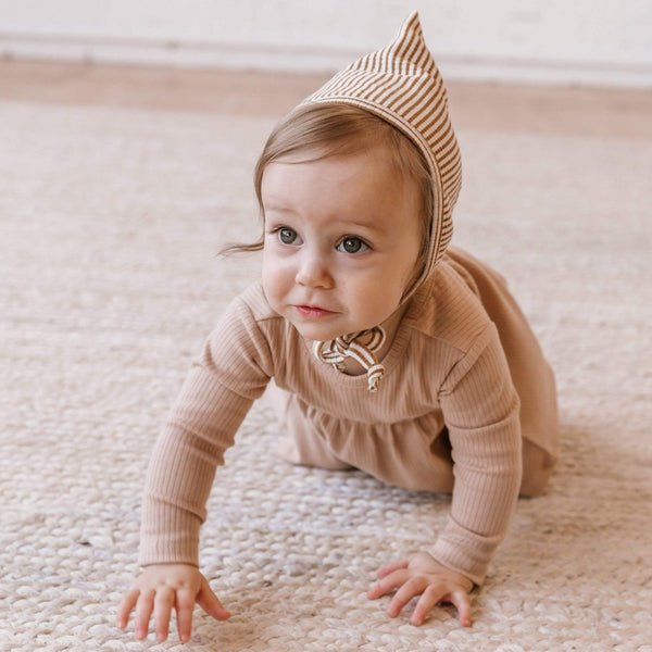 Quincy Mae Bonnet Pixie Bonnet - Walnut Stripe
