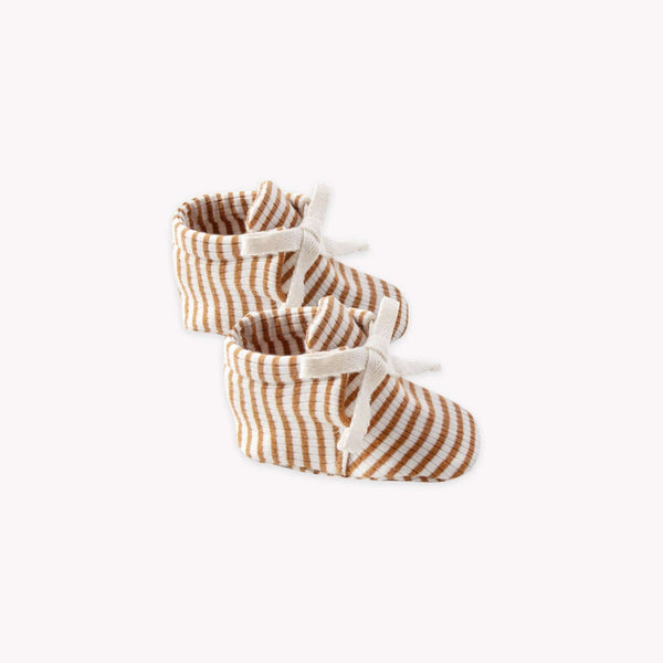 Quincy Mae Booties Baby Booties - Walnut Stripe