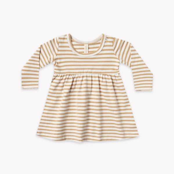 Quincy Mae Dress Long Sleeve Baby Dress - Honey Stripe