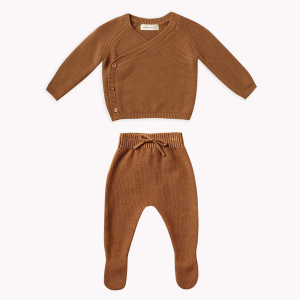 Quincy Mae Set Knit Kimono Set - Walnut