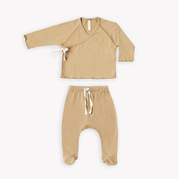 Quincy Mae Sets Kimono Top + Footed Pant Set - Honey