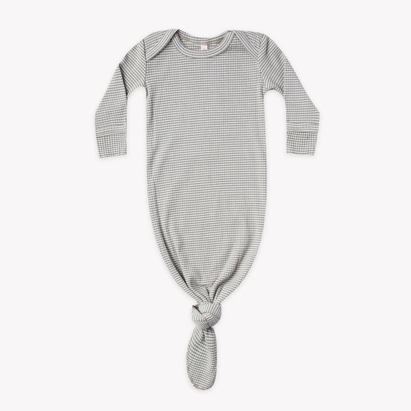 Quincy Mae Sleep Gown Ribbed Knotted Baby Gown - Eucalyptus Stripe