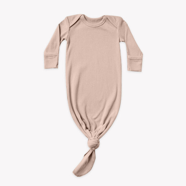 Quincy Mae Sleep Gown Ribbed Knotted Baby Gown - Petal