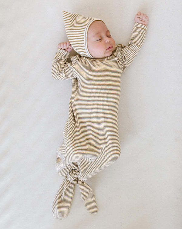 Quincy Mae Sleep Gown Ribbed Knotted Baby Gown - Walnut Stripe