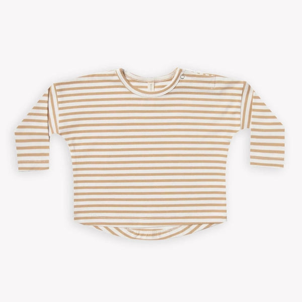 Quincy Mae T-Shirt Long Sleeve Baby Tee - Honey Stripe