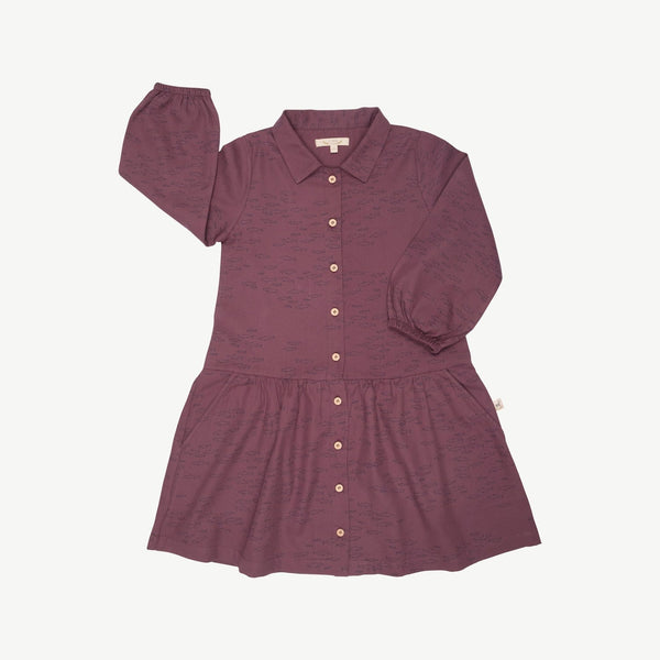 Red Caribou Dress Schooling Fish Buttons Dress - Plum Wine
