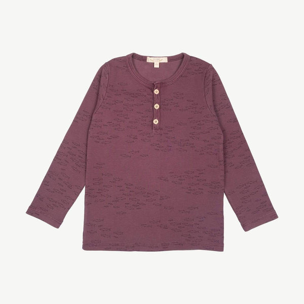 Red Caribou Long-Sleeve Tee Schooling Fish Ribbed Henley - Plum Wine