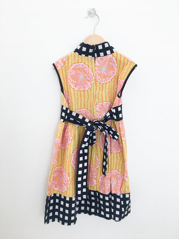Redfish Kids Dress 5y / Gently Used Re-Cycle Black and Yellow Pink Peony Party Dress