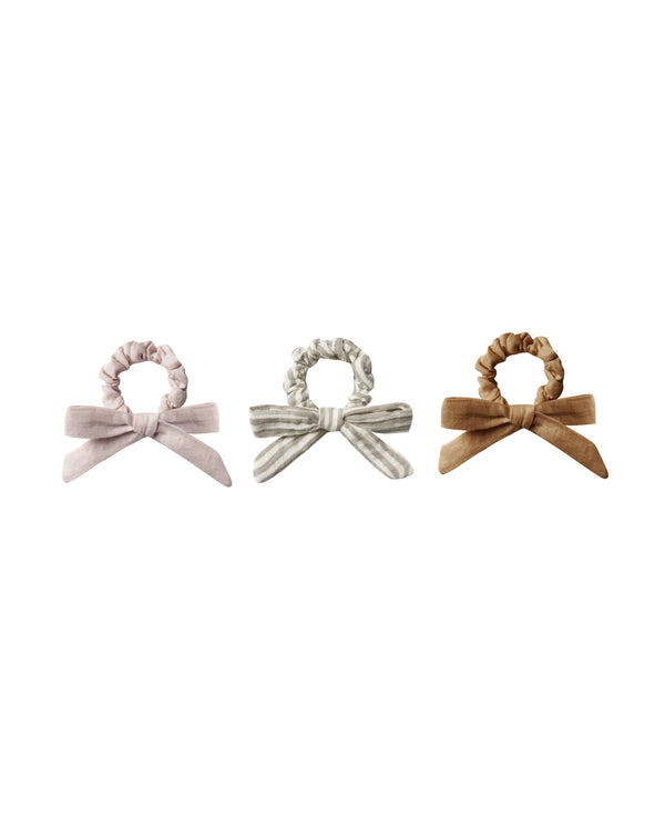 Rylee + Cru Bows One Size Little Bow Scrunchie Set - Lilac, Olive, Bronze