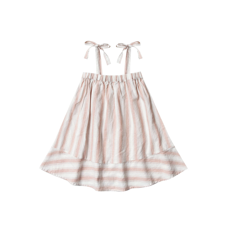 Shoulder Tie Dress - Petal Stripe