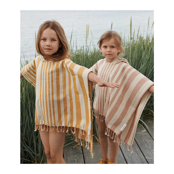 Roomie Poncho - Y/D Stripe: Tuscany Rose/Sandy