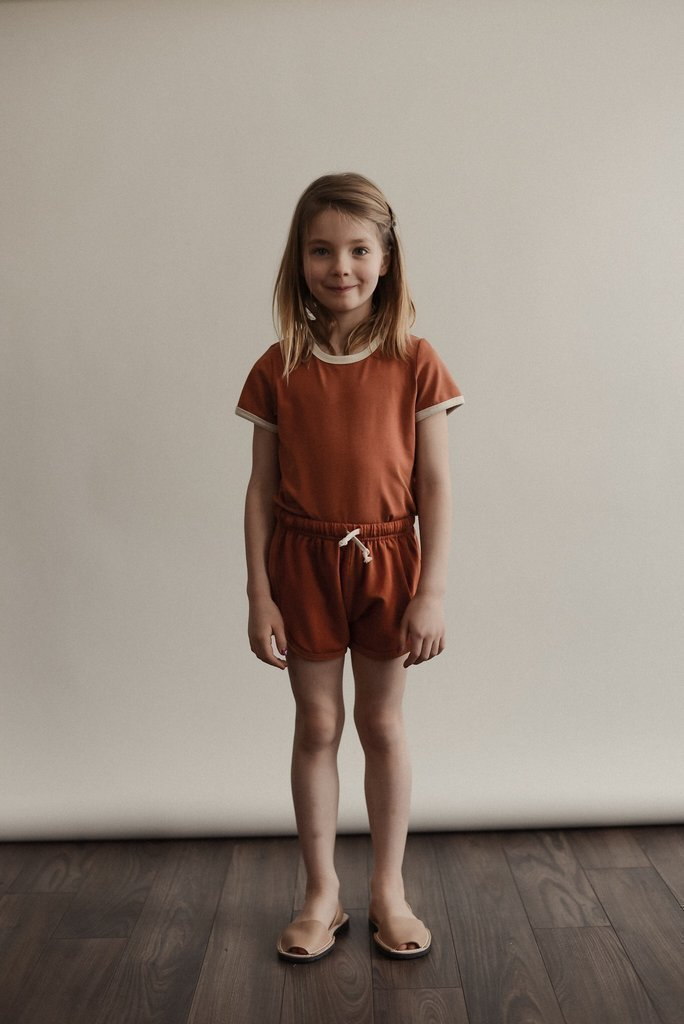 Sem Label Bottoms 2y / New with Tag Re-Cycle Track Shorts - Red Sand
