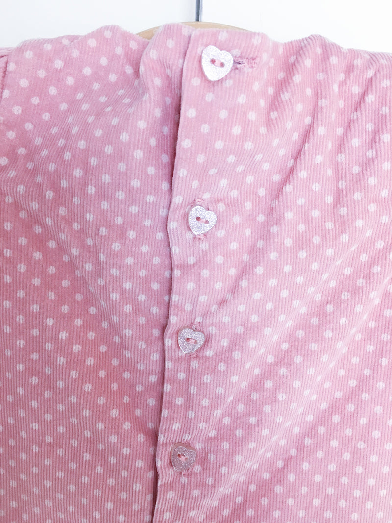 Sergent Major Dress 3m / Gently Used Re-Cycle Pink Polka-Dot Corduroy Baby Dress