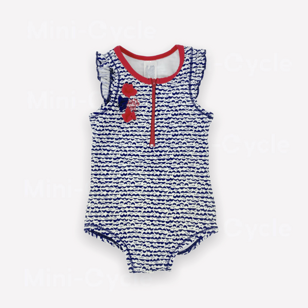 Souris Mini One-Piece 9m / Like New Re-Cycle Patterned Blue One-Piece Swimsuit