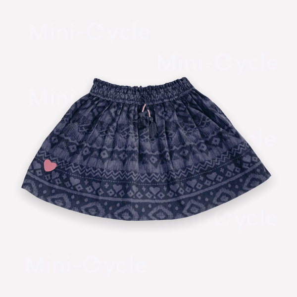 Souris Mini Skirt 3y / Like New Re-Cycle Patterned Charcoal Brushed Corduroy Skirt