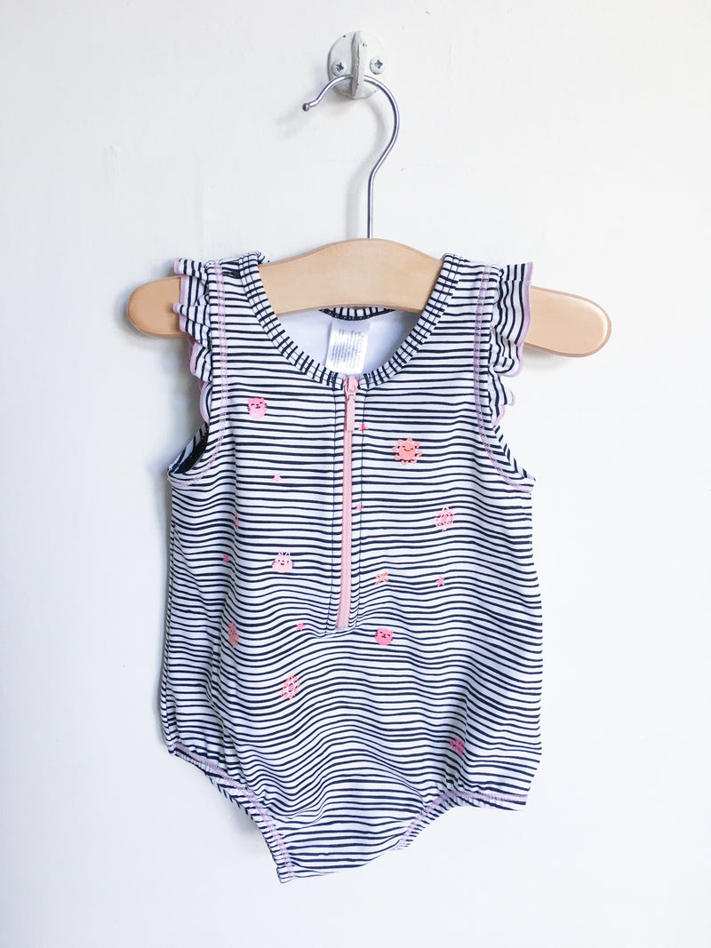 Souris Mini Swimwear 9-12m / Like New Re-Cycle Black and White Striped Baby Swimsuit