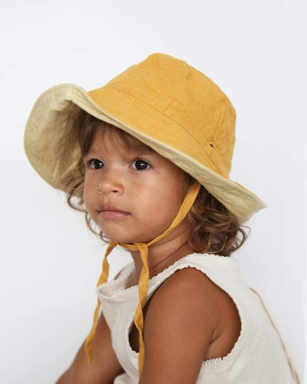 Summer and Storm Hat One Size Baby Sun Hat with Ties - Sunshine and Pastel