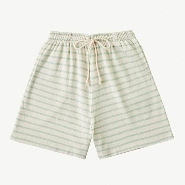 Summer and Storm Shorts Baby Long Ribbed Shorts - Soft Aqua Stripe