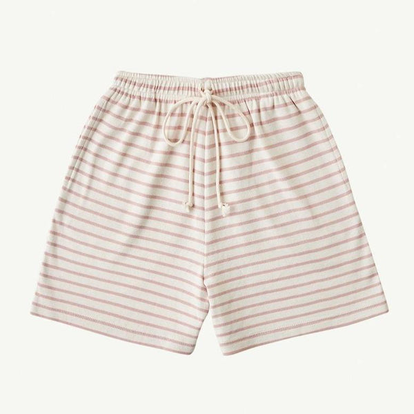 Summer and Storm One-Piece Summer Storm Baby Long Ribbed Shorts - Rose Stripe