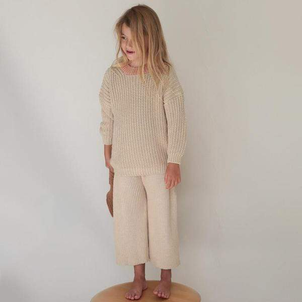 Summer & Storm Sweater Chunky Pullover - Natural & Coral