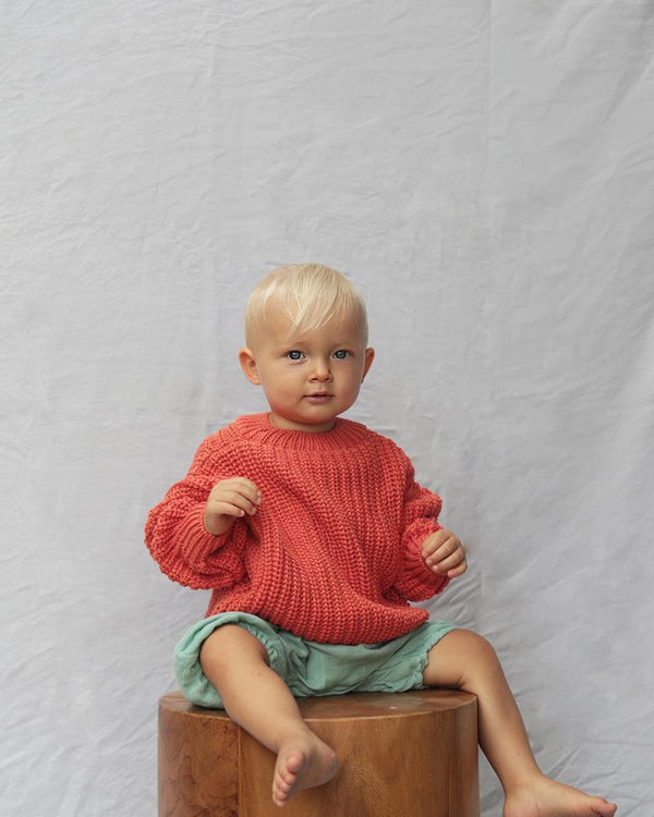 Summer & Storm Sweaters Chunky Cotton Knit Pullover - Burnt Orange