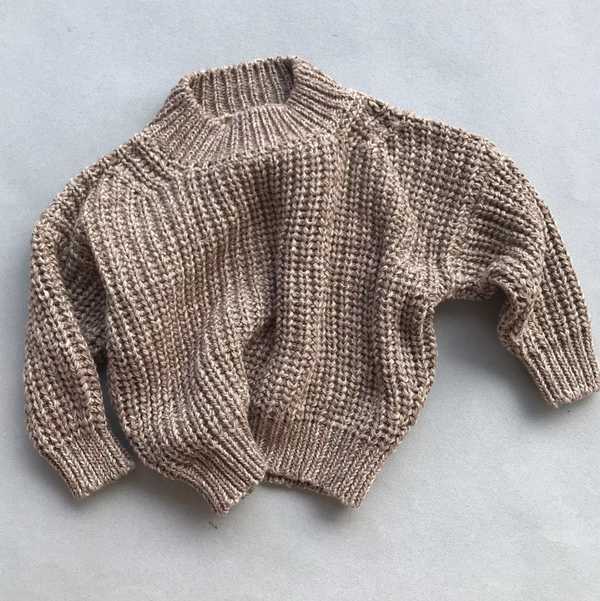 Summer & Storm Sweaters Chunky Cotton Knit Pullover - Ivory & Caramel