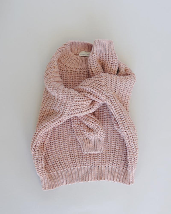 Summer & Storm Sweaters Chunky Cotton Knit Pullover - Rose & Coral
