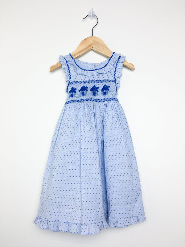 Te Como a Besos Dress 24m / Like New Re-Cycle Blue Polkadot Dress with Embroidery