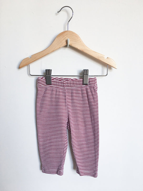 Tea Bottoms 6-12m / Gently Used Re-Cycle Cranberry and White Striped Leggings