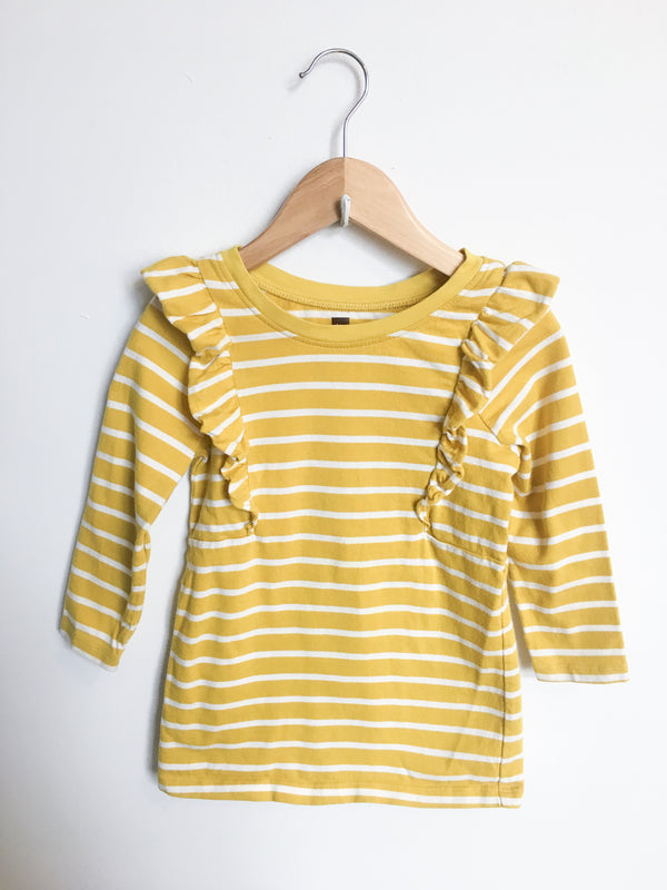 Tea Tops + Bodysuits 2T / Gently Used Re-Cycle Yellow Striped Ruffle Tunic