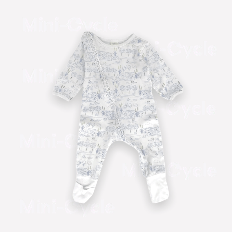 Tiny twig One-Piece 6-9m / Preloved Re-Cycle Patterned White One-Piece
