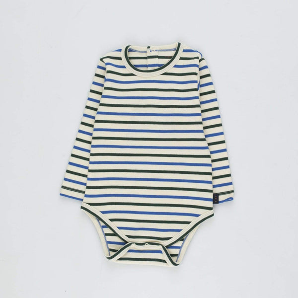 "Tinycottons Bodysuit Baby ""Stripes"" Body - Cream/Blue/Dark Green"